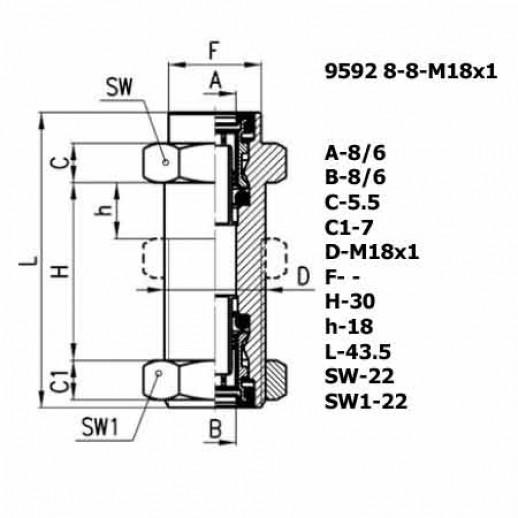 Цена фитинга Фитинг переходник 9592 8-8-M18X1