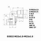 Цена на фитинг Фитинг угловой D2022 M22x1.5-M22x1.5 D2022 M22x1.5-M22x1.5
