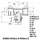 Цена на фитинг Фитинг тройник горизонтальный D2062 M16x1.5-M16x1.5 D2062 M16x1.5-M16x1.5