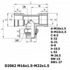 Цена на фитинг Фитинг тройник горизонтальный D2062 M16x1.5-M22x1.5 D2062 M16x1.5-M22x1.5