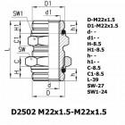 Цена на фитинг Фитинг переходник D2502 M22x1.5-M22x1.5 D2502 M22x1.5-M22x1.5