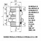 Цена на фитинг Фитинг переходник D2502 M22x1.5-M22x1.5M16x1.5-L=39 D2502 M22x1.5-M22x1.5M16x1.5-L=39