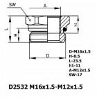 Цена на фитинг Фитинг D2532 M16x1.5-M12x1.5 D2532 M16x1.5-M12x1.5