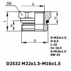 Цена на фитинг Фитинг D2532 M22x1.5-M16x1.5 D2532 M22x1.5-M16x1.5