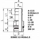 Цена на фитинг Фитинг переходник D2602 12-M16x1.5 D2602 12-M16x1.5
