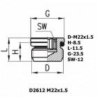 Цена на фитинг Фитинг заглушка D2612 M22x1.5 D2612 M22x1.5
