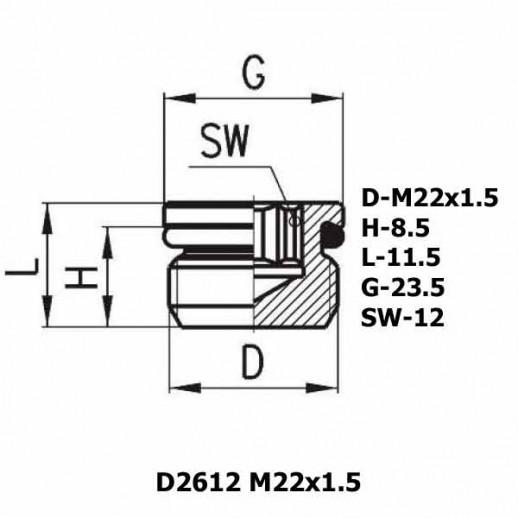 Цена фитинга Фитинг заглушка D2612 M22x1.5