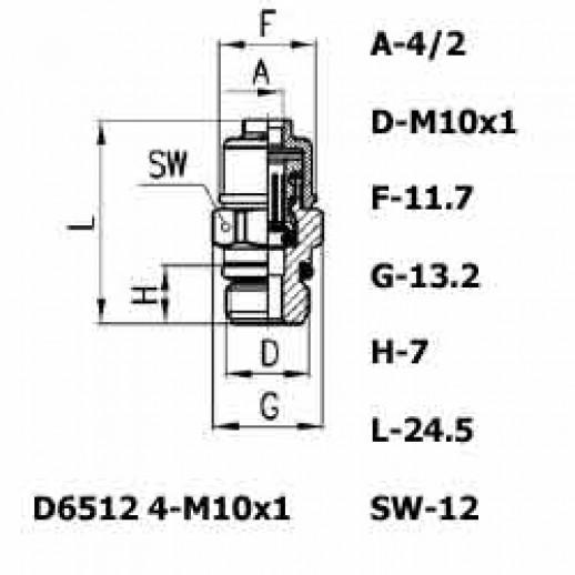 Цена фитинга Фитинг прямой D6512 4-M10x1