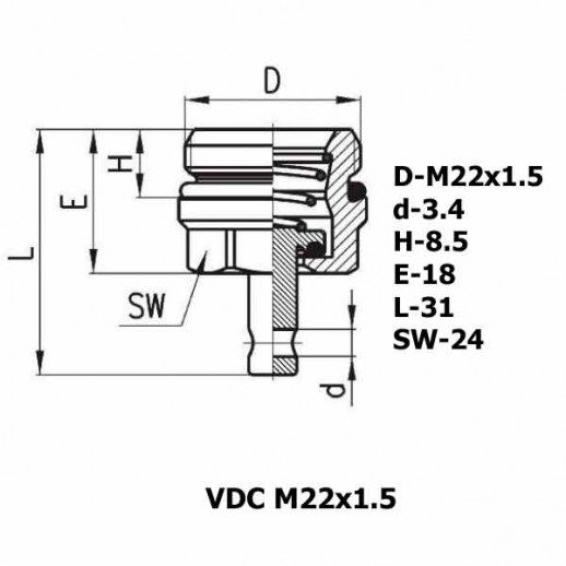 Цена фитинга Фитинг для слива конденсата VDC M22x1.5