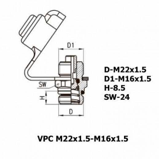 Цена фитинга Фитинг контрольного вывода VPC M22x1.5-M16x1.5